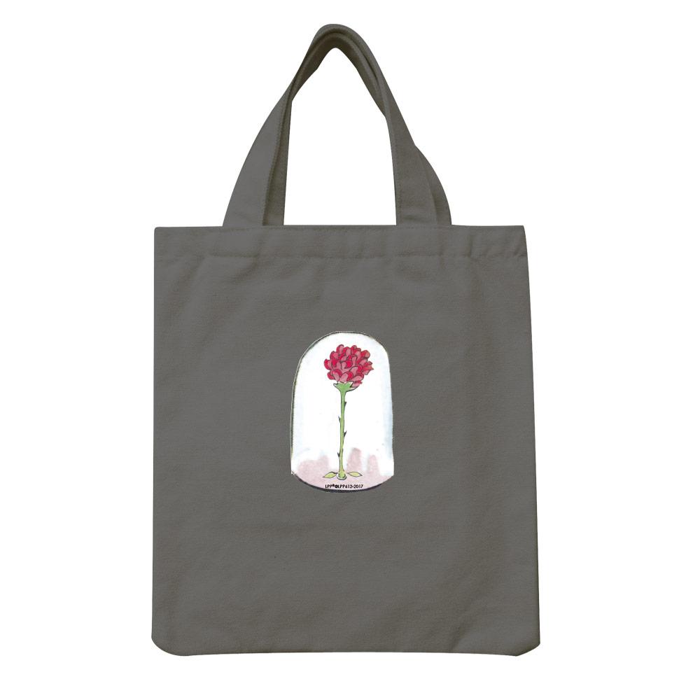 YOSHI850|小王子經典版授權:彩色手提小帆布包【09 玻璃罩裡的玫瑰花(鐵灰)】