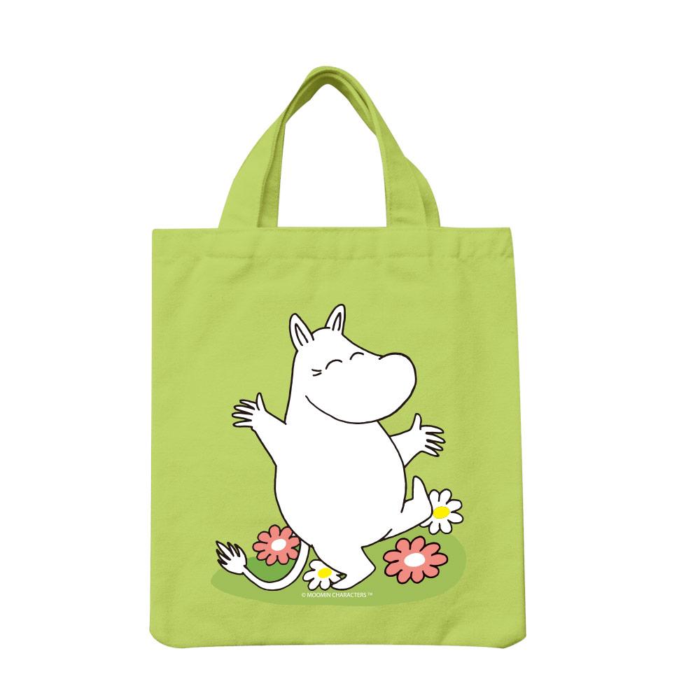 YOSHI850|Moomin嚕嚕米正版授權:彩色手提小帆布包【02 花漾(果綠)】