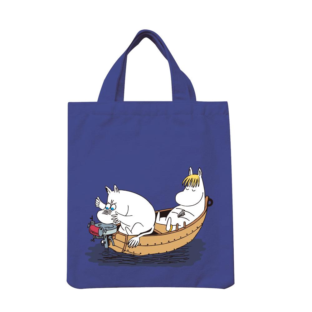 YOSHI850|Moomin嚕嚕米正版授權:彩色手提小帆布包【05 moomin捕魚趣(藏青)】
