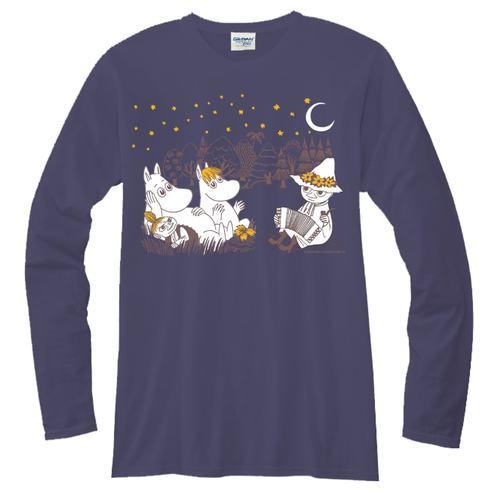 YOSHI850|Moomin嚕嚕米正版授權【07 仲夏之夜】長袖T-shirt (中性)藏青色