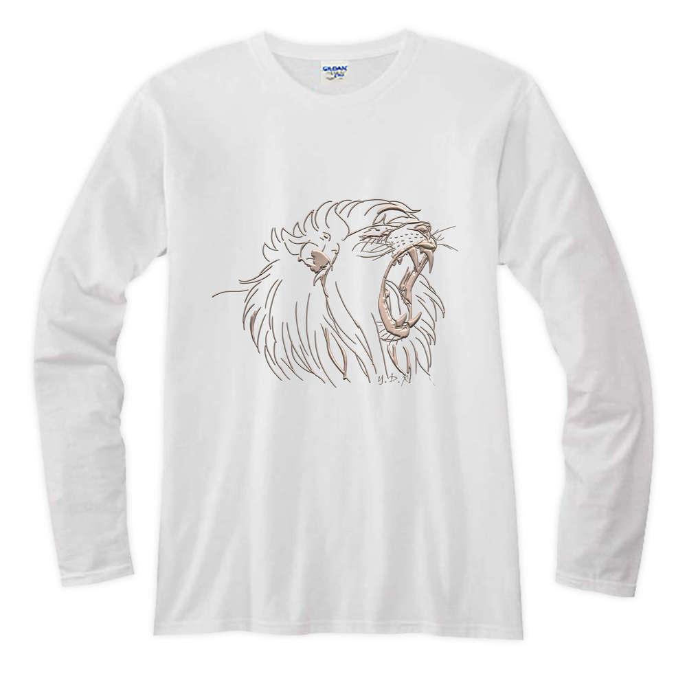 YOSHI850|新創設計師系列-伊黛萱【01 河東獅吼】長袖T-shirt (修身/中性)白色