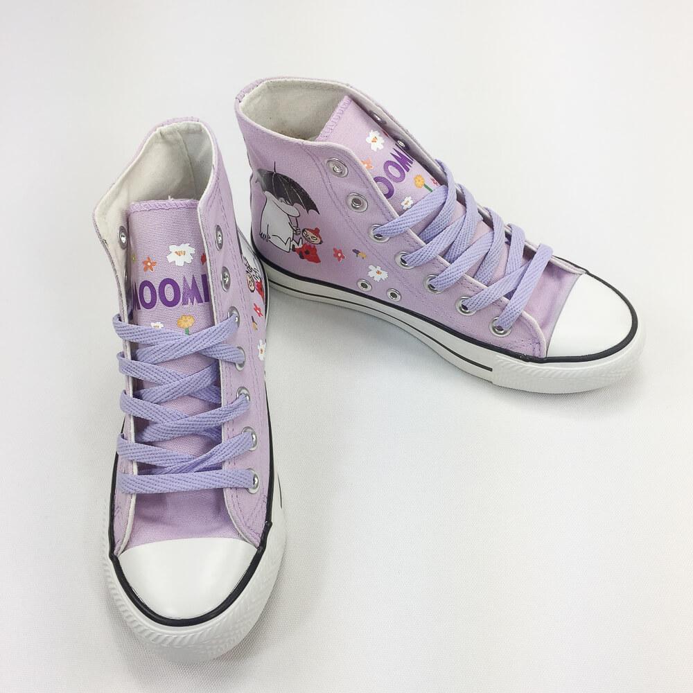 YOSHI850 Moomin嚕嚕米正版授權:帆布鞋【02紫鞋紫帶】