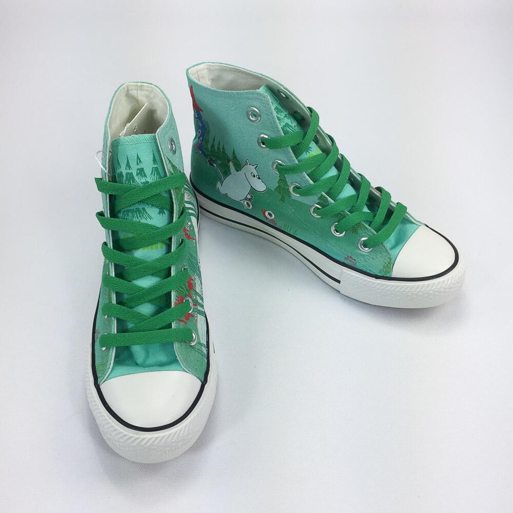 YOSHI850 Moomin嚕嚕米正版授權:帆布鞋【06綠鞋深綠帶】