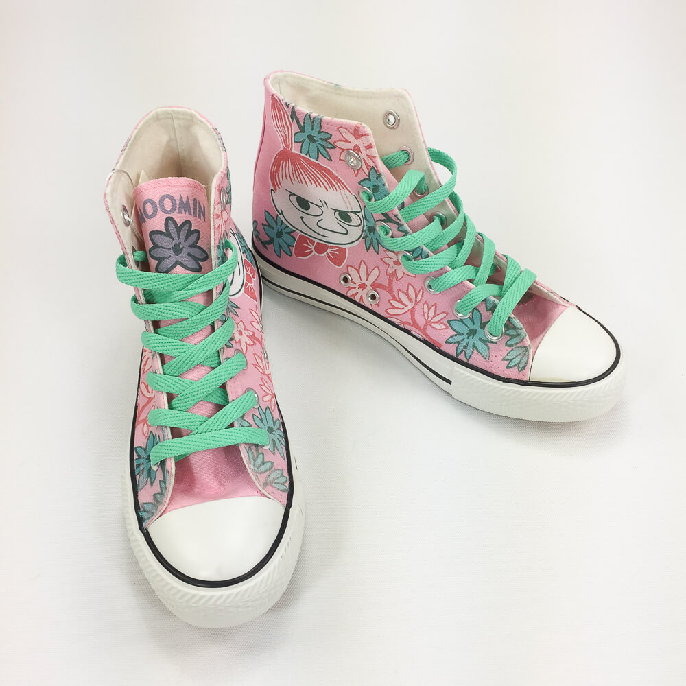 YOSHI850|Moomin嚕嚕米正版授權:帆布鞋【09粉鞋淺綠帶】
