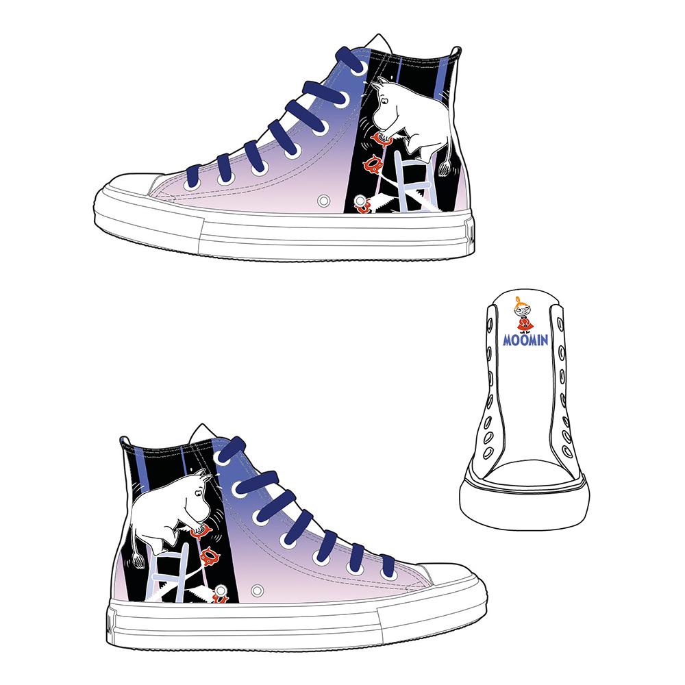 YOSHI850|Moomin嚕嚕米正版授權:帆布鞋【19白鞋藏青帶】