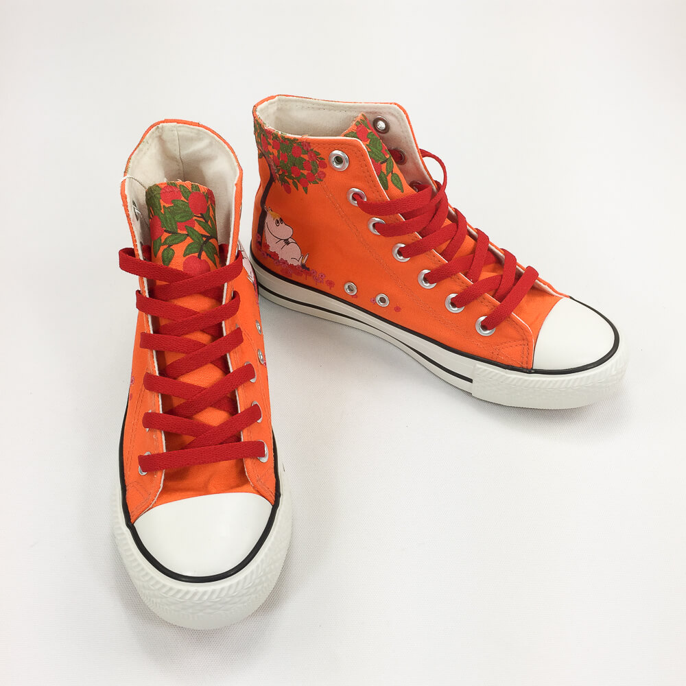 YOSHI850|Moomin嚕嚕米正版授權:帆布鞋【22橘鞋紅帶】