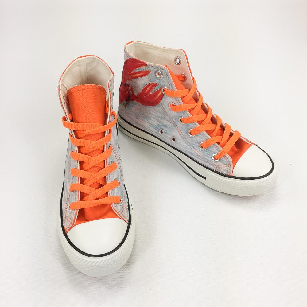 YOSHI850|新創設計師系列:帆布鞋【03 動物迷蹤 獨佔鰲頭(橘鞋橘帶)】