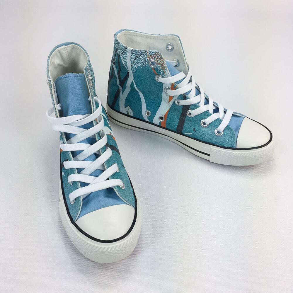 YOSHI850|新創設計師系列:帆布鞋【08 林間生活(藍鞋白帶)】