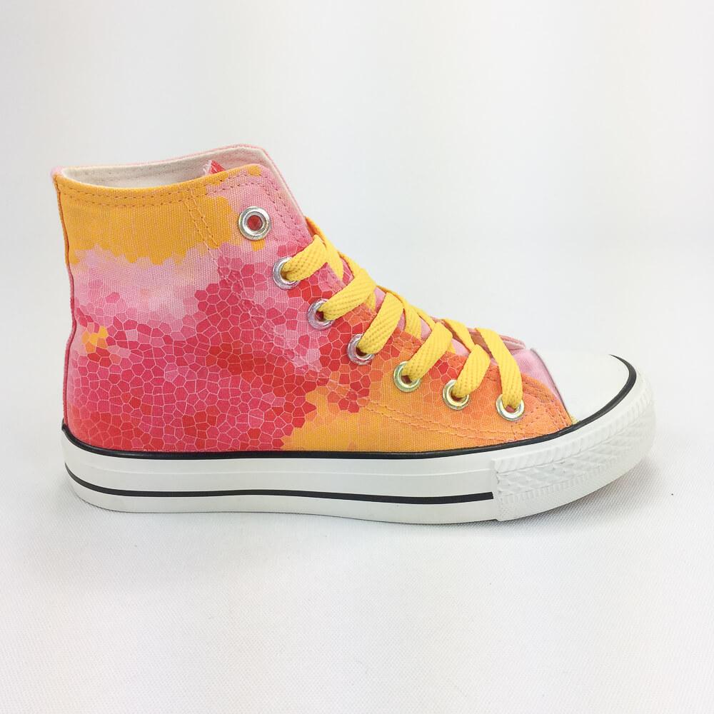 YOSHI850|新創設計師850 Collections:帆布鞋【02 粉鞋黃帶】