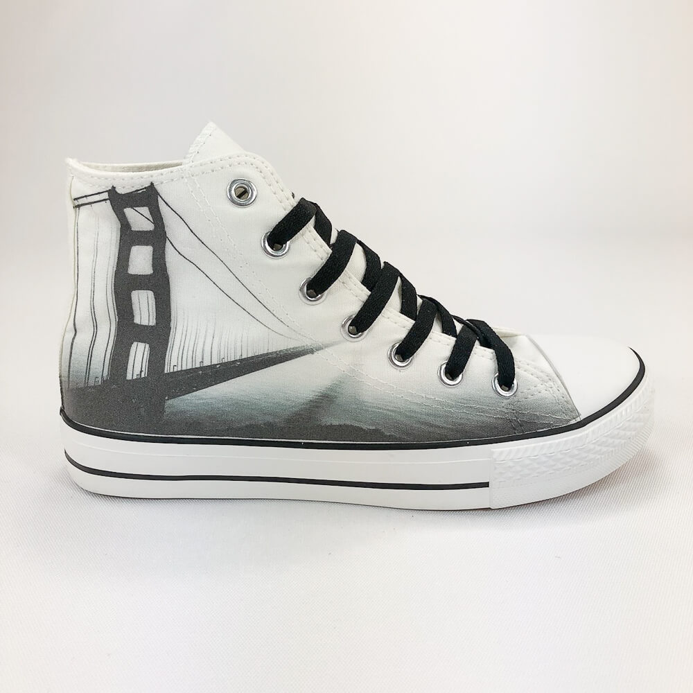 YOSHI850|新創設計師850 Collections:帆布鞋【08 白鞋黑帶】