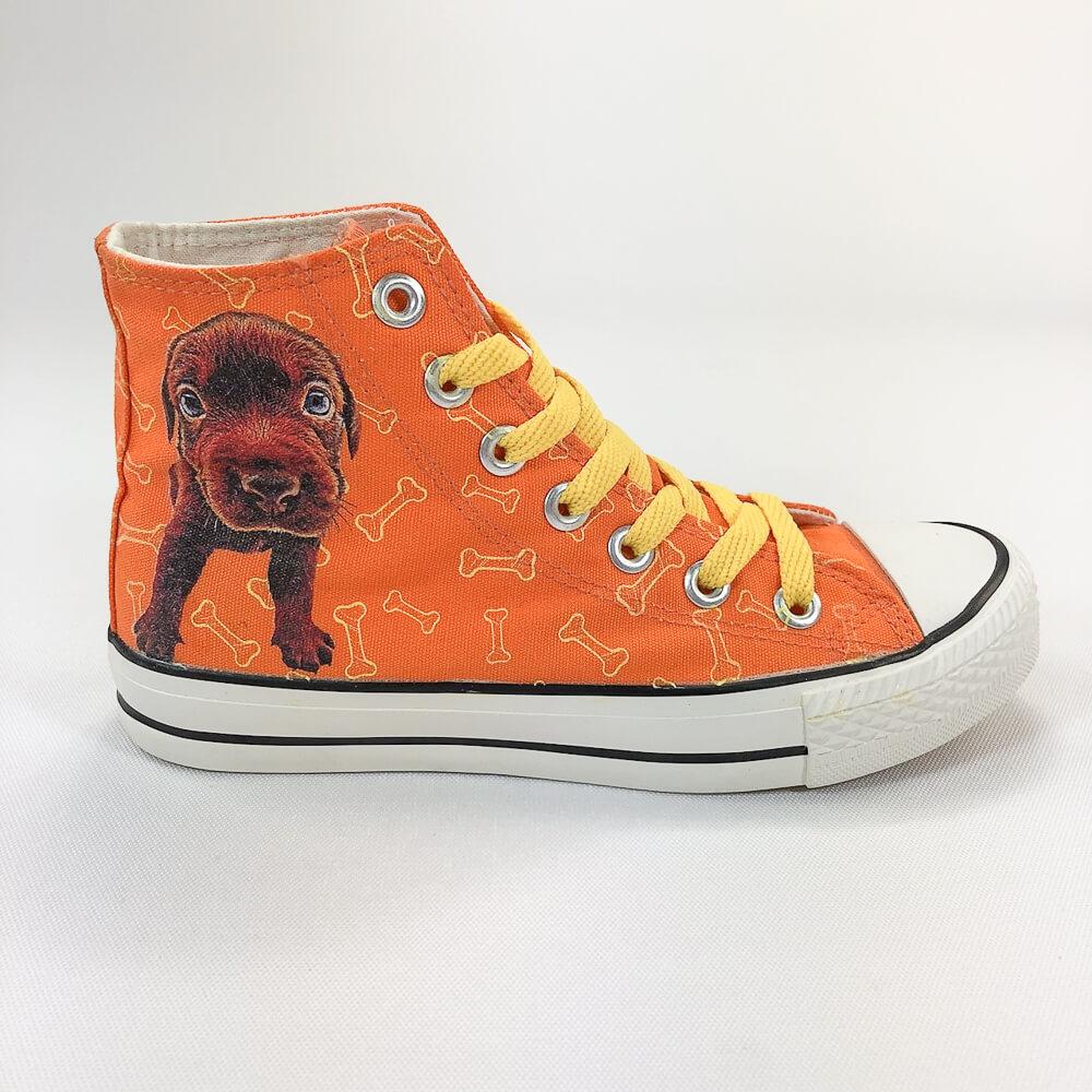 YOSHI850 The Dog:帆布鞋【03 橘鞋黃帶】