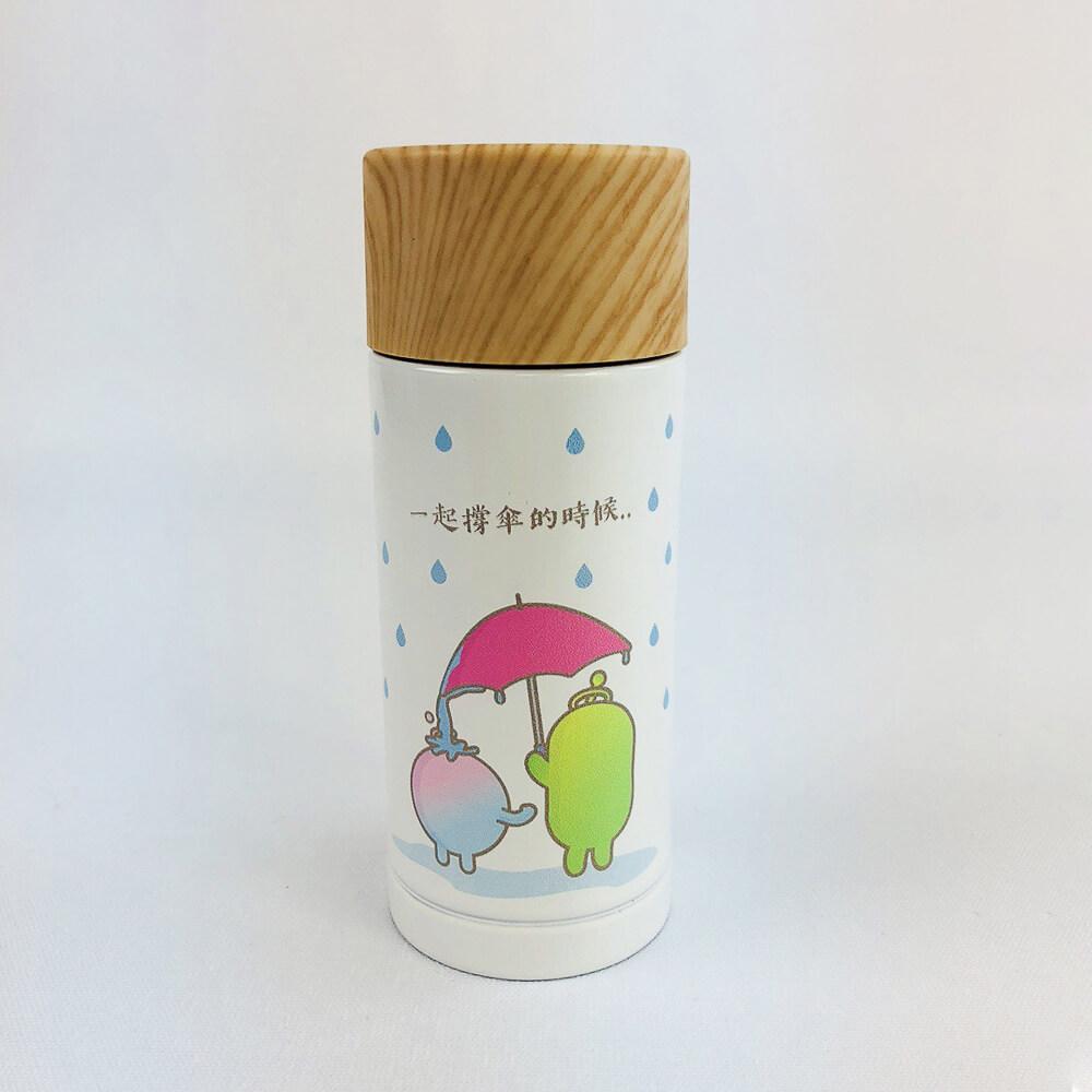 YOSHI850 新創設計師 - 沒個性星人Roo:木紋蓋保溫瓶(小-200ml)【01 白】
