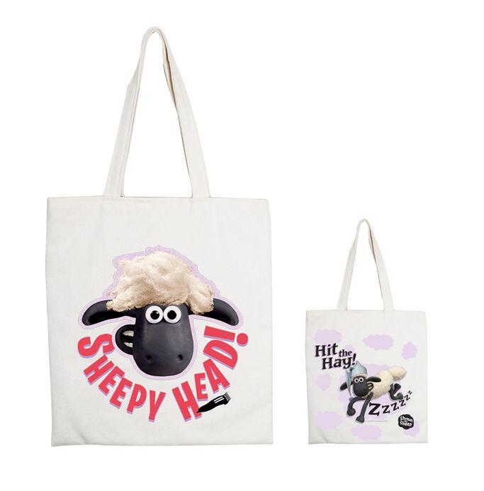 (複製)YOSHI850|笑笑羊正版授權:手提購物包【07 Go Shaun Go! 】米白/麻黃