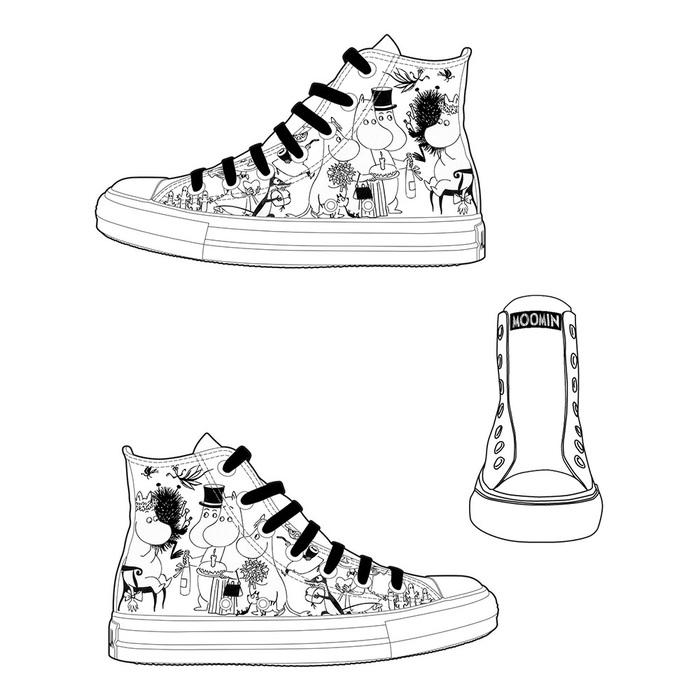 (複製)YOSHI850|Moomin嚕嚕米正版授權:帆布鞋【05白鞋藏青帶】