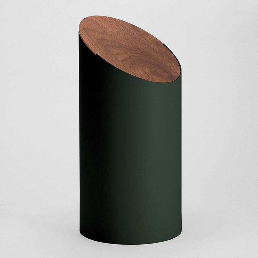 MOHEIM|SWING BIN 墨綠 胡桃木垃圾桶