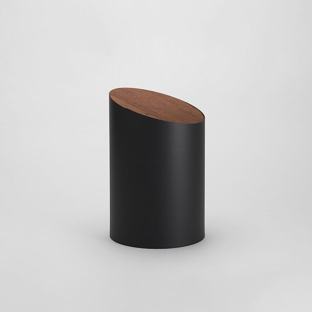 MOHEIM|SWING BIN 黑色 胡桃木垃圾桶 S