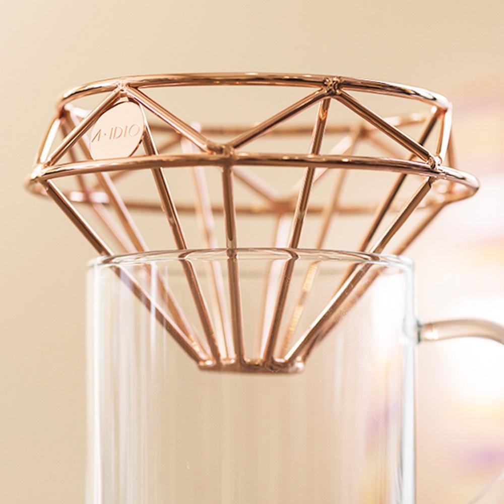 A-IDIO|鑽石咖啡濾杯(附絨布袋)—玫瑰金