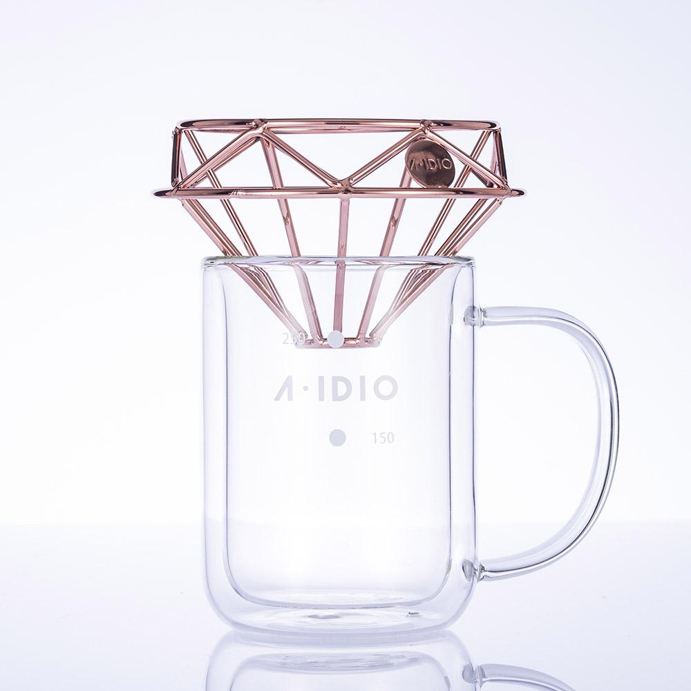 A-IDIO|鑽石咖啡濾杯壺組(玫瑰金)
