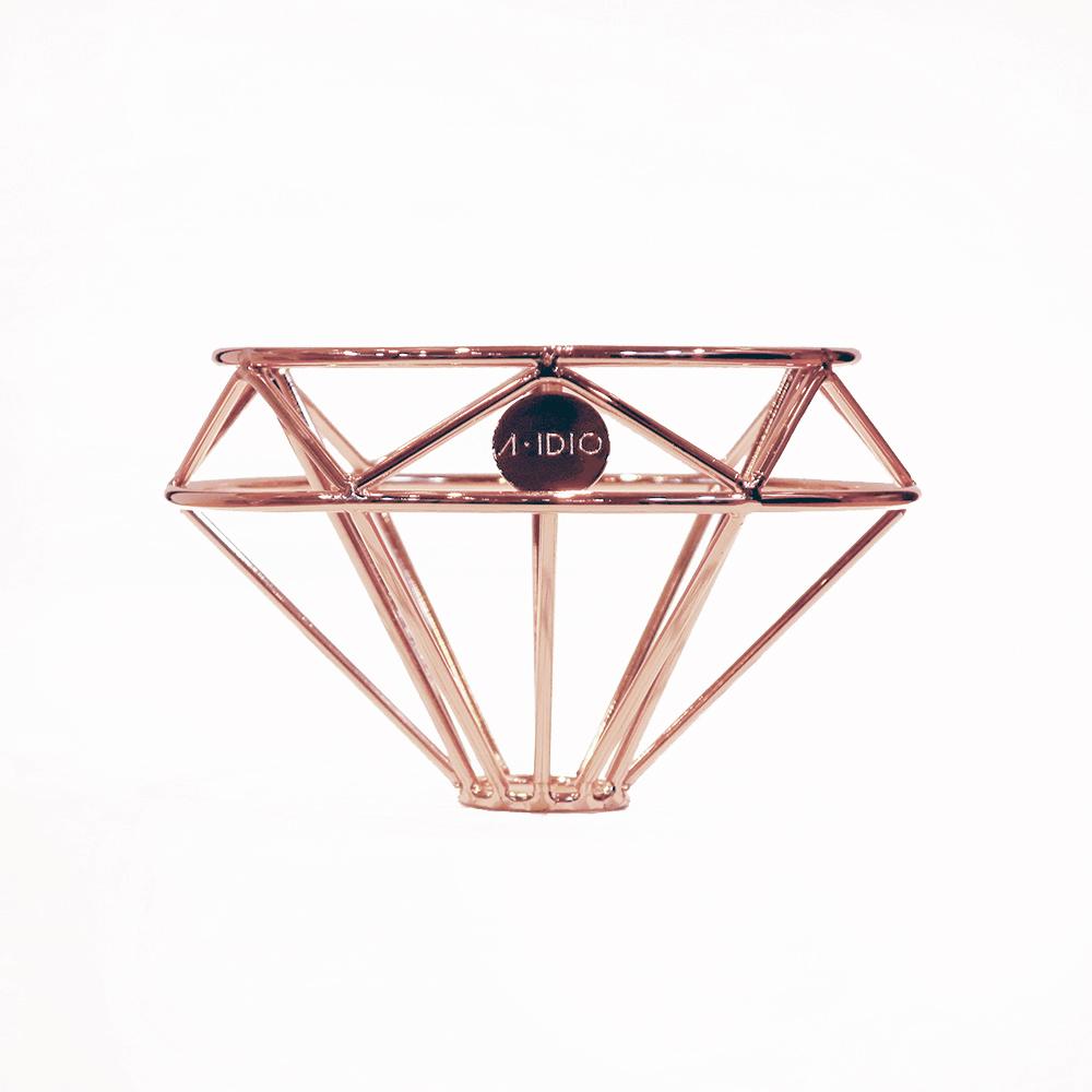 A-IDIO|鑽石咖啡濾杯(玫瑰金)+雙層玻璃杯禮盒組