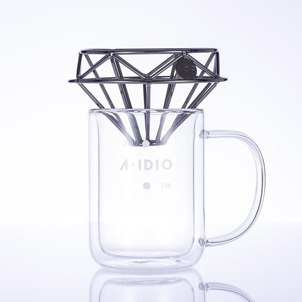 A-IDIO|鑽石咖啡濾杯(曜石黑)+雙層隔熱杯禮盒組