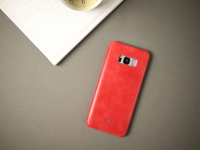 Alto Samsung Galaxy S8 真皮手機殼背蓋 Original - 珊瑚紅