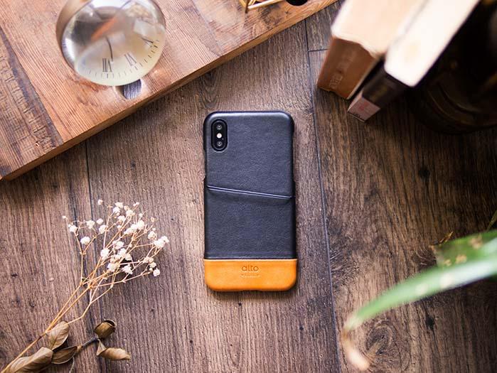 Alto|iPhone X 皮革保護殼 Metro (渡鴉黑/焦糖棕)