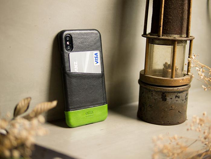 Alto|iPhone X 皮革保護殼 Metro (渡鴉黑/萊姆綠)