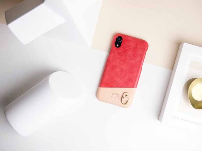 Alto|iPhone XR 皮革保護殼 Anello (珊瑚紅)