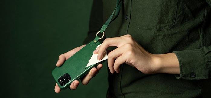 (複製)Alto|iPhone 12 /Pro 6.1吋 頸掛卡插皮革防摔手機殼Anello 360 - (礫石灰) (附頸掛繩)