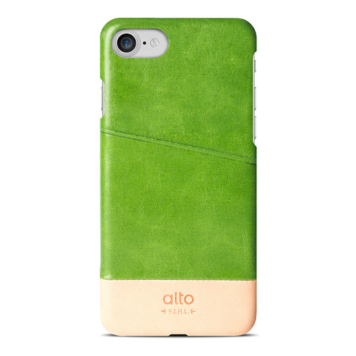 Alto|iPhone 8 / iPhone 7 真皮手機殼背蓋,Metro(萊姆綠/本色)