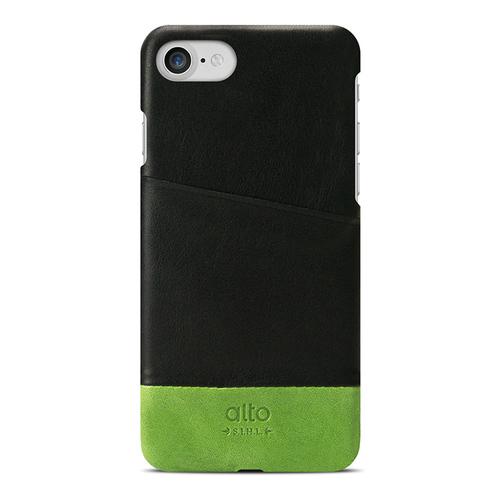 Alto|iPhone SE2/7/8 真皮手機殼背蓋,Metro(黑色/萊姆綠)