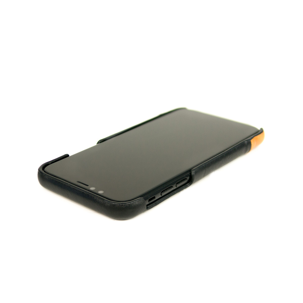 Alto|iPhone X / Xs 皮革保護殼 Metro (渡鴉黑/焦糖棕)