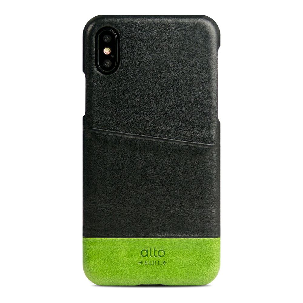 Alto iPhone X / Xs 皮革保護殼 Metro (渡鴉黑/萊姆綠)
