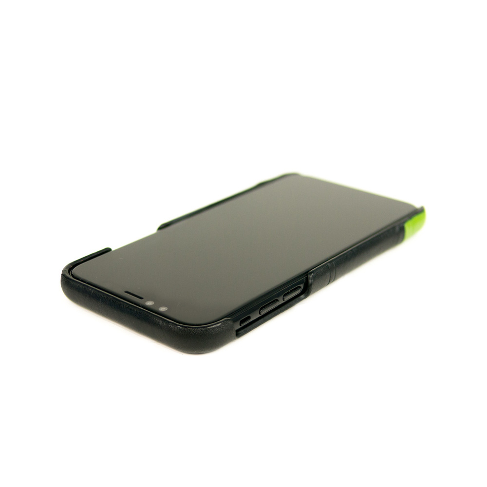 Alto|iPhone X / Xs 皮革保護殼 Metro (渡鴉黑/萊姆綠)
