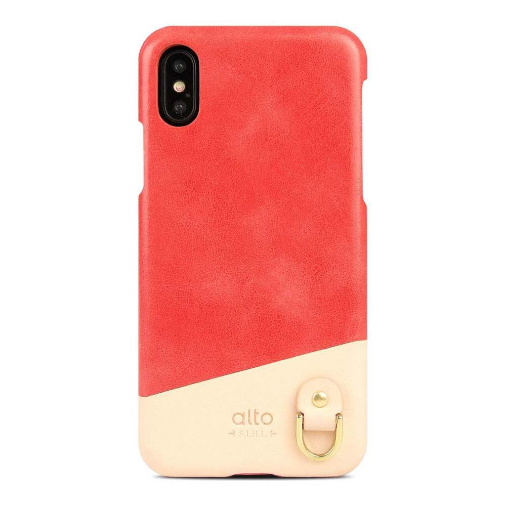 Alto|iPhone X / Xs 皮革保護殼 Anello (珊瑚紅)