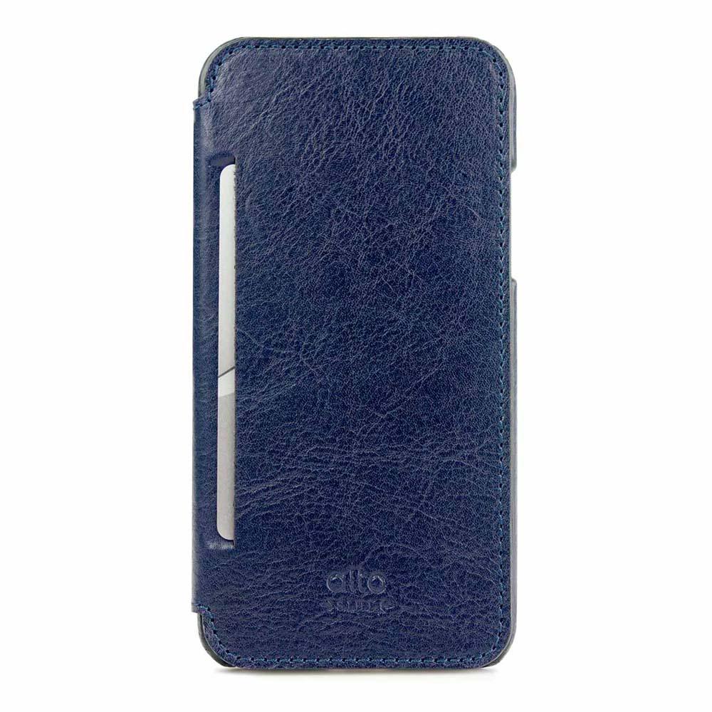 Alto alto iPhone X / Xs 側翻式皮革手機套 Foglia - 海軍藍