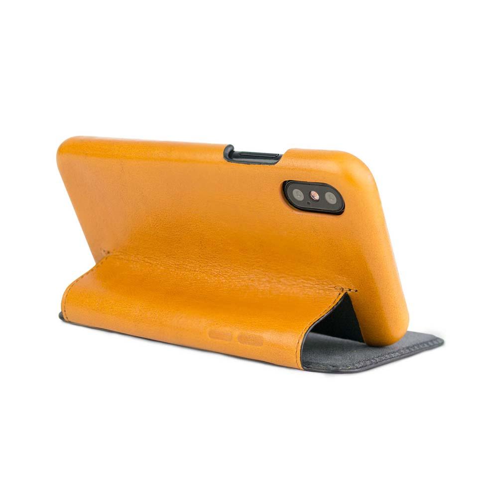 Alto|alto iPhone X / Xs 側翻式皮革手機套 Foglia - 焦糖棕