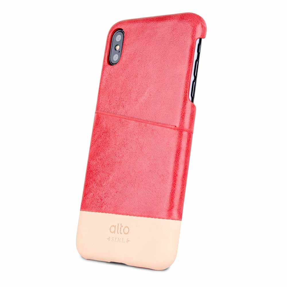 Alto|iPhone Xs Max 皮革保護殼 Metro (珊瑚紅/本色)