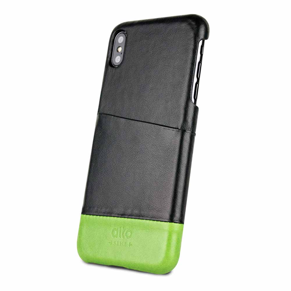 Alto|iPhone Xs Max 皮革保護殼 Metro (渡鴉黑/萊姆綠)