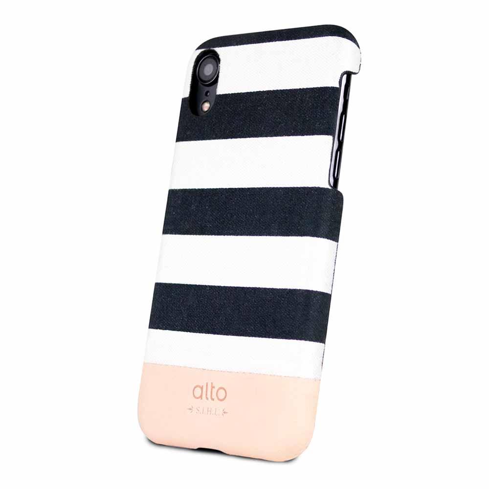 Alto|iPhone XR 皮革保護殼 Denim (白條紋)