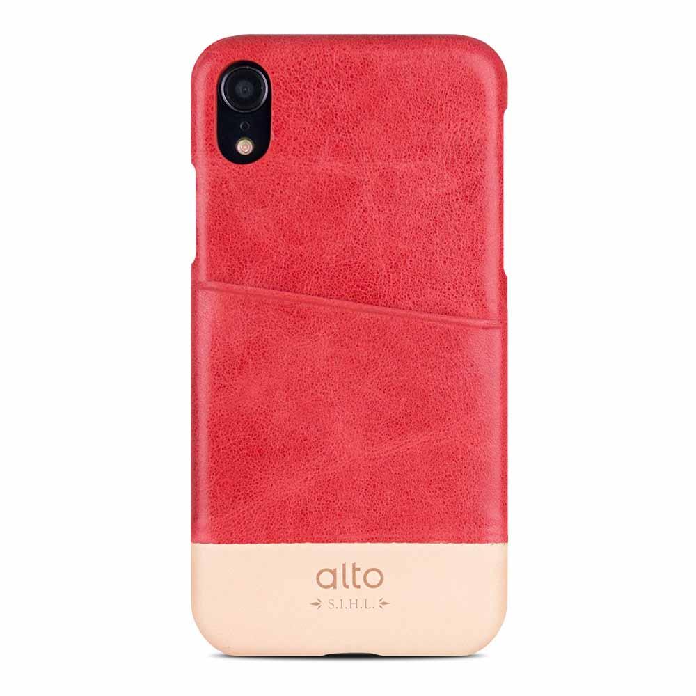 Alto|iPhone XR 皮革保護殼 Metro (珊瑚紅/本色)