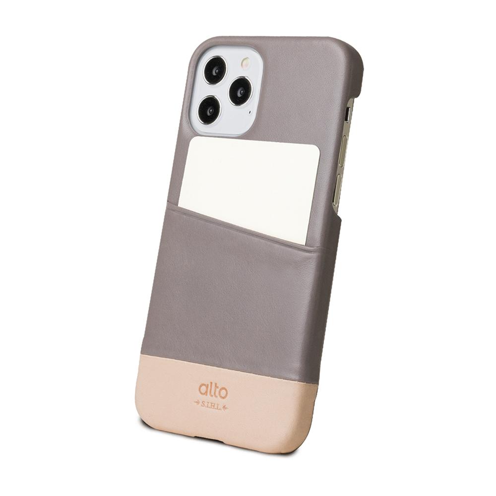 Alto|iPhone 12 /Pro 6.1吋 插卡皮革手機殼背蓋 Metro (礫石灰/本色)
