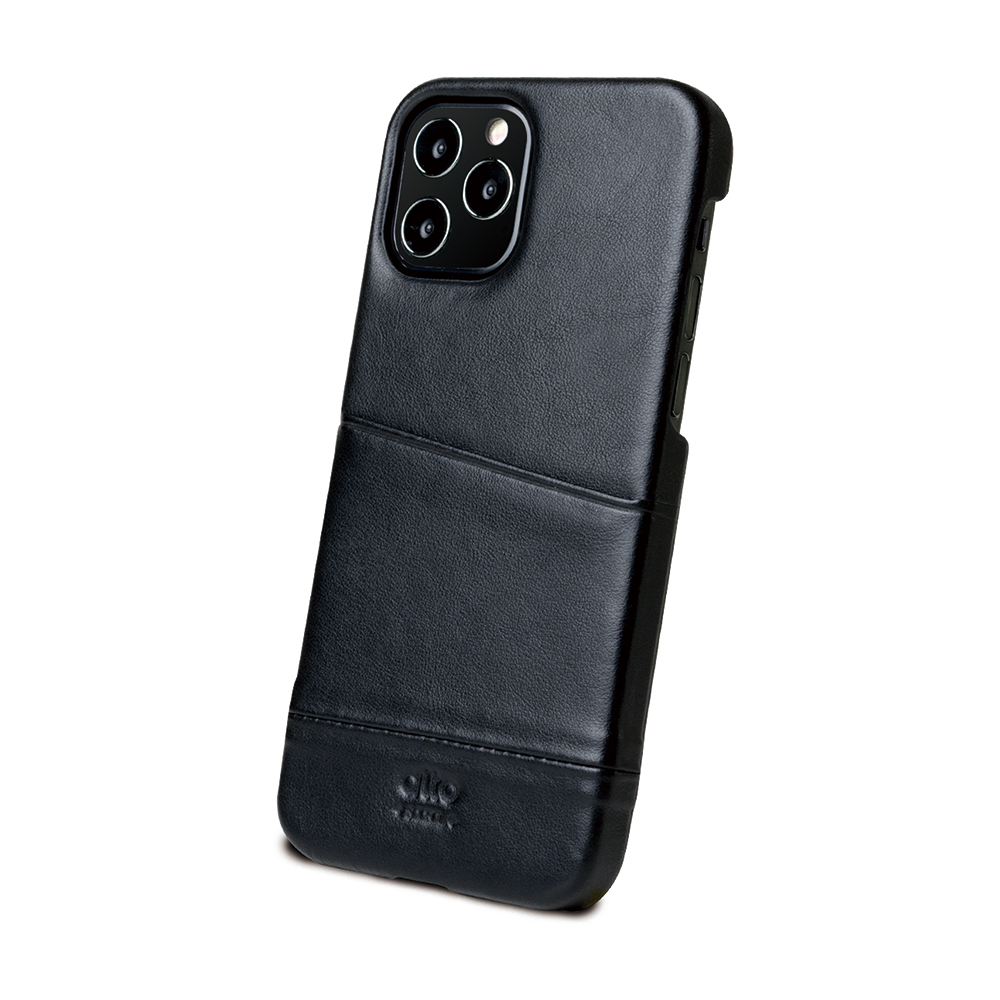 Alto iPhone 12 /Pro 6.1吋 插卡皮革手機殼背蓋 Metro (渡鴉黑)