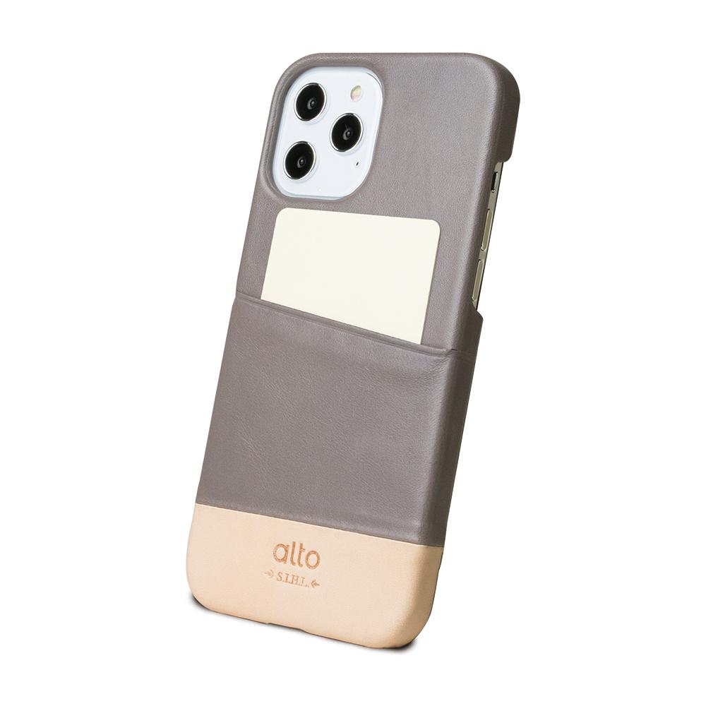 Alto|iPhone 12 Pro Max 6.7吋 插卡皮革手機殼背蓋 Metro (礫石灰/本色)