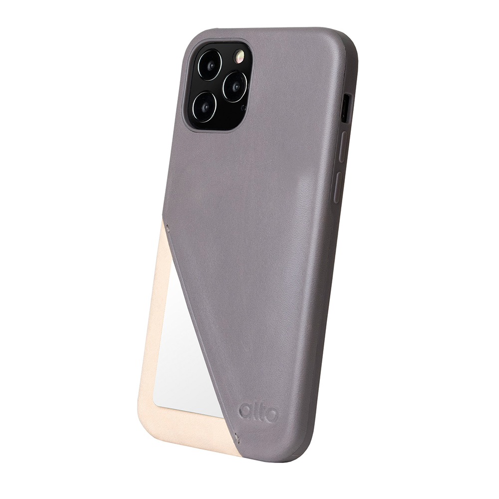 Alto iPhone 12 /Pro 6.1吋 插卡式皮革防摔手機殼 Metro 360 (礫石灰/本色)