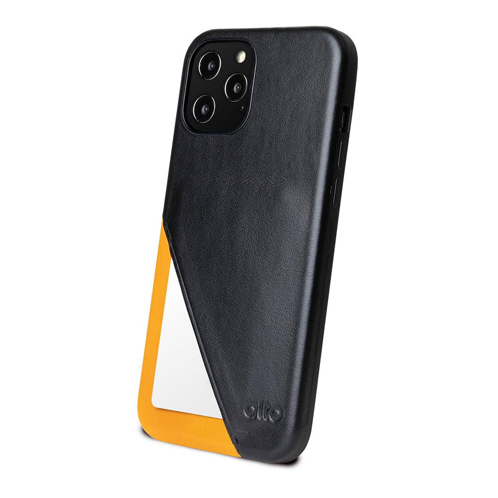 Alto iPhone 12 /Pro 6.1吋 插卡式皮革防摔手機殼 Metro 360 (渡鴉黑/焦糖棕)