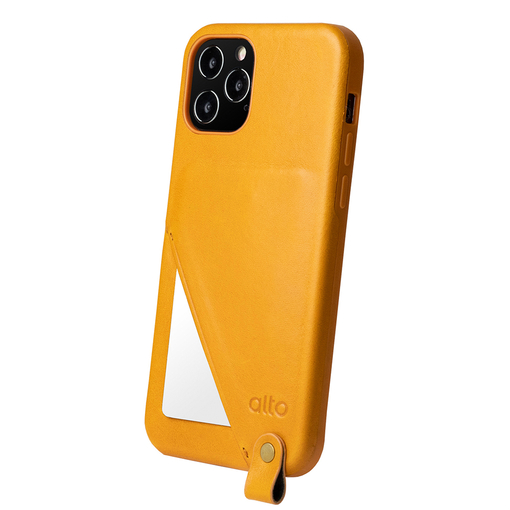 Alto|iPhone 12 /Pro 6.1吋 頸掛卡插皮革防摔手機殼Anello 360 - (焦糖棕) (附頸掛繩)