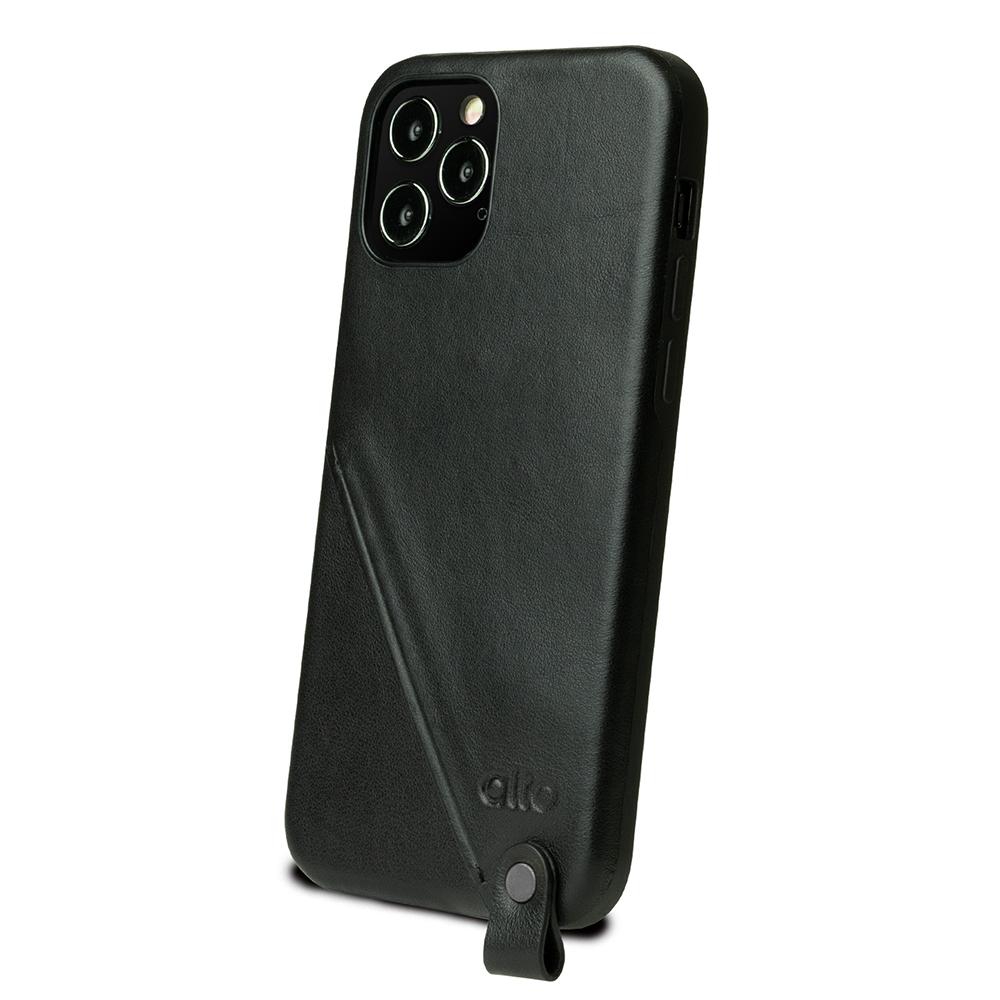 Alto iPhone 12 /Pro 6.1吋 頸掛卡插皮革防摔手機殼Anello 360 - (渡鴉黑) (附頸掛繩)