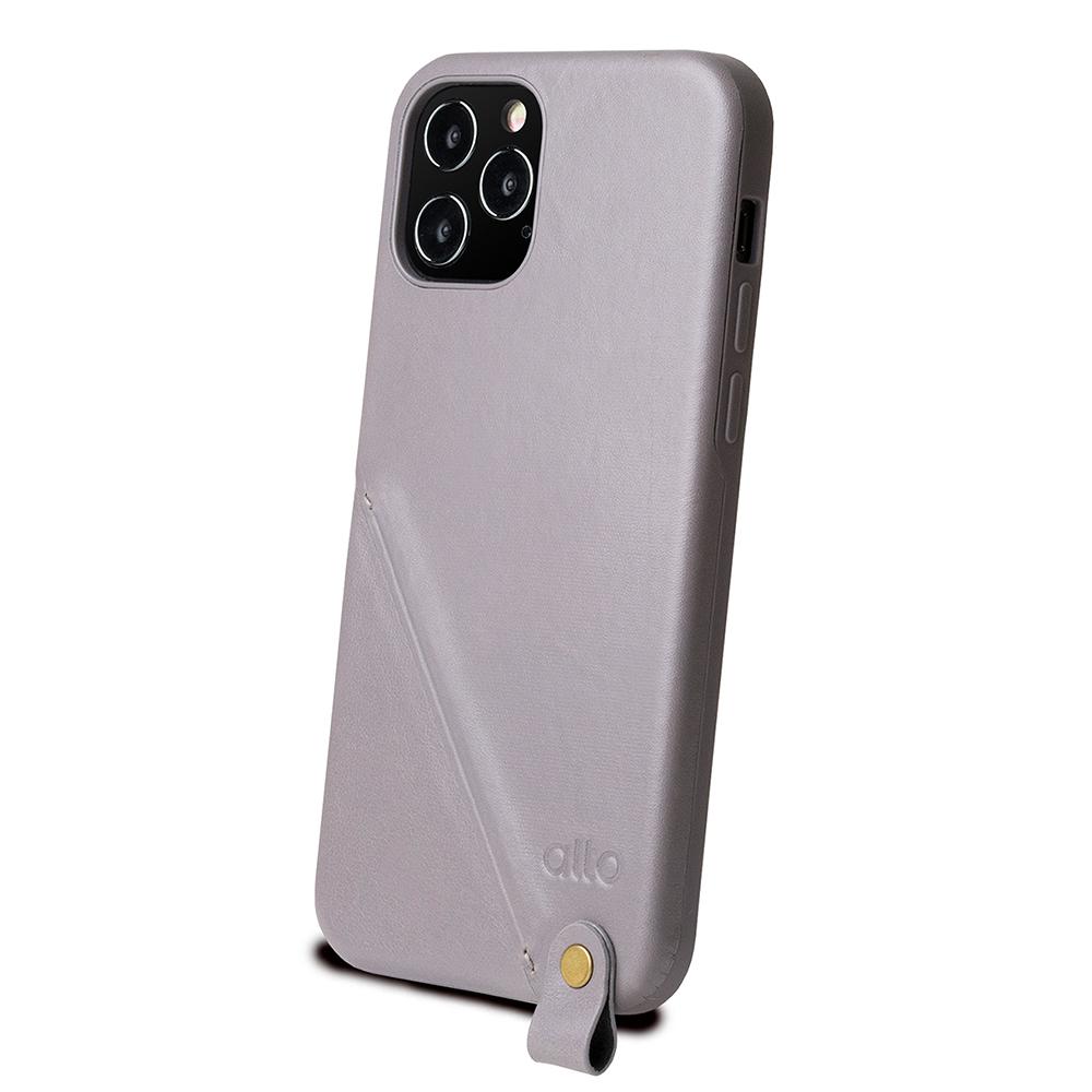 Alto|iPhone 12 Pro Max 6.7吋 頸掛卡插皮革防摔手機殼Anello 360 - 礫石灰