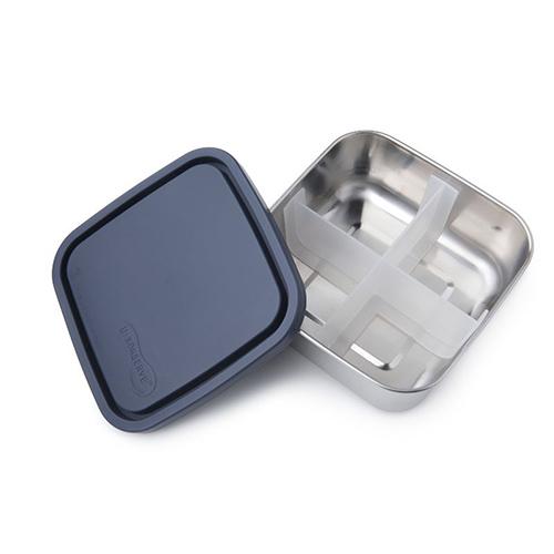 美國U Konserve|中方形不鏽鋼分隔便當盒 (四分格可拆)一 寧靜海藍